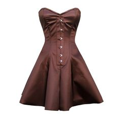 Brown Satin Flared Corset Dress NS-GC1036