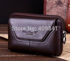 """100% Genuine Leather Carry Belt Pouch Crossover Waist Purse Case for Original ZTE V967S V987 5"""" Cell Phone  Free Drop Shipping"""
