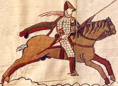 Notice how the saddle is secured round the neck of the horse, so it isn't pushed back when using the lance. A Norman knight during the Battle of Hastings. Detail of the Bayeux Tapestry, century. Bayeux Tapestry, Medieval Tapestry, Medieval Art, Vikings, Norman Knight, Medieval Embroidery, Historischer Roman, Baroque Art, Early Middle Ages