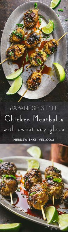 These Japanese-style chicken meatball skewers are seasoned with garlic and ginger, grilled to a deep golden brown and brushed with a sweet soy glaze.