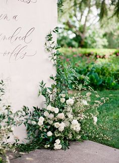 What do you get when a talented wedding photographer hosts a vow renewal? A day bursting with romance and the dreamiest of dreamy details! Greenery Decor, Greenery Centerpiece, Large Floral Arrangements, Wedding Flower Arrangements, Floral Wedding, Wedding Flowers, Seating Chart Wedding, Seating Charts, Event Signage