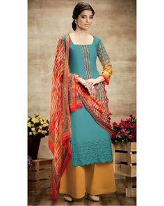 Earthy Blue Soft Cotton Salwar Suit