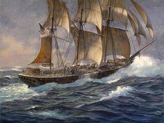 Marine Artists || PATRICK OBRIEN (American, Contemporary) : CSS Shenandoah in Stormy Seas Art Handlers, Old Sailing Ships, Sailing Boat, Civil War Art, Nautical Art, Nautical Painting, Man Of War, Ship Paintings, Stormy Sea