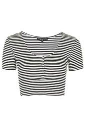 TALL Striped Popper Front Cropped Tee