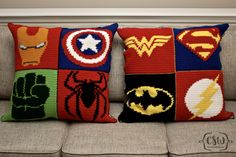 Crochet and Sewing Patterns with photo tutorials - Marvel Superhero Pillow - Ironman, Captain America, The Hulk, and Spider-Man C2c Crochet, Crochet Cushions, Crochet Pillow, Crochet Chart, Crochet Home, Crochet Baby, Crochet Blankets, Pixel Crochet Blanket, Yarn Projects