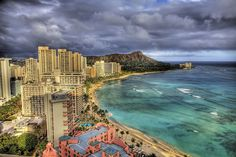 A beautiful view of Waikiki, with the Royal Hawaiian Center and Royal Hawaiian Hotel in the bottom left-hand corner.