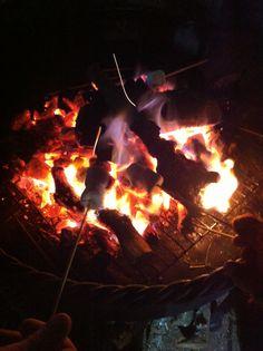 Marshmallows toasting on an open fire