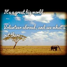 """It's a great big world. Volunteer abroad, and see what's out there."" #volunteerabroad #volunteer #travel #CCS"