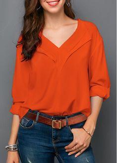 6b93d290f6 V Neck Orange Red Roll Sleeve Blouse