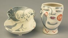 Akio Takamori, Cup and Plate. Doug Hill photograph Akio Takamori (1950-2017) was born and raised in Japan. Takamori apprenticed with a master folk potter in Kyushu and met American ceramist Ken Ferguson Takamori is known for his painted figures on sculptural ceramic vessel forms. Most of his work is influenced by his Japanese heritage.