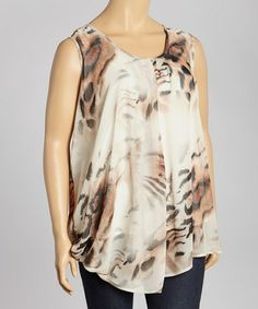 This Brown & Cream Leopard Scoop Neck Top - Plus by Madison Paige is perfect! #zulilyfinds