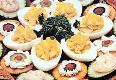 Canapes, Devilled Eggs, Cheez Whiz on Crackers - Betty Crocker Cookbook, 1961