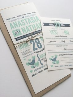 Wedding Invitation Rustic Vintage // Mint by ArrowandInkDesigns