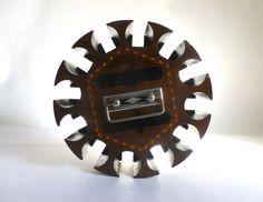 Antique Art Deco Inlaid Wood and Metal Revolving Poker by JoeBlake, $45.00