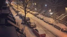 Snow covers cars and the road in Harlem, New York, N.Y. on Tuesday, March 14, 2017. Winter Storm Stella is poised to dump several inches of snow on the city and surrounding areas. (@sixsixrower/instagram)