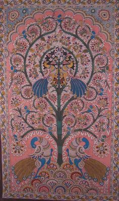 Tree of Life panel Kalamkari' painting with peacocks and birds - hand painted with natural vegetable dyes, India.