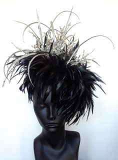 READY TO SHIP Black Feather Headdress by MissGDesignsShop on Etsy, $100.00