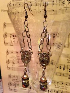 Antique,Vintage style, Religious Medallion, Rhinestone, Earrings on Etsy, $25.00