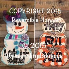Reversible Snowman Pumpkin Stack door by WhimsicalityBoutique