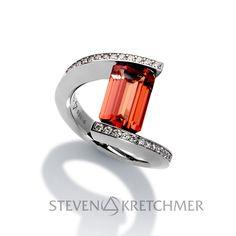 Orange Sapphires... DROOL. Orange Sapphire, Diamond Jewelry, Wedding Rings, Engagement Rings, Jewels, Cakes, Jewellery, Diamond Jewellery, Enagement Rings