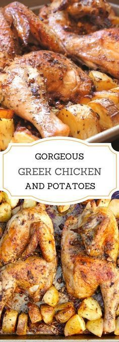 Chicken and Potatoes Gorgeous Greek Chicken and Potatoes with garlic, oregano, and loads of lemon.Gorgeous Greek Chicken and Potatoes with garlic, oregano, and loads of lemon. Greek Chicken And Potatoes, Greek Chicken Recipes, Greek Food Recipes, Chicken Slovaki Recipe, Chicken Quarter Recipes, Greek Lemon Potatoes, Greek Lemon Chicken, White Potatoes, Chicken Quarters