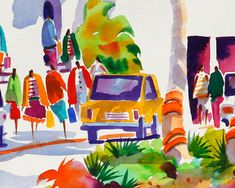 Venice Beach Florida, Tropical Watercolor Print, 5 x 7, 8 x 10, 11 x 14, Negley, Beach Art, Beach Painting, Tropical Watercolor Painting  This is 5 x 7, 8 x 10 or 11 x 14 watercolor giclee print by Ellen Negley. DOWNTOWN VENICE II is a tropical street scene inspired by the quaint town of Venice Beach, Florida known for the sharks teeth that wash up on their beaches.  This reproduction is printed on 350 g/m fine art textured paper and printed with Epson archival inks guaranteed to last a…