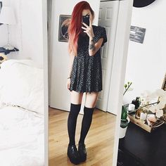 Cute vintage dress  wearing black shorts too for obvious reasons
