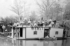 """Ohio Gambling History: The """"Bull Frog"""" was an abandoned canal boat that was towed north of town (Piqua, OH) and used for illegal gambling and drinking. c.1900. #gamblinghistory #gamblers www.OneMorePress.com"""