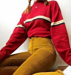 57441357e5a striped red sweatshirt + yellow corduroy pants Top Fashion