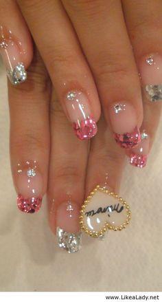 Amazing nails with diamonds