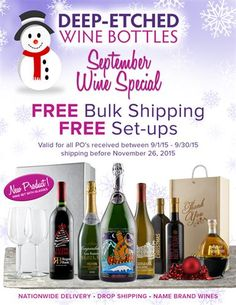Beautiful Deep-Etched Wine Bottles with your logo.