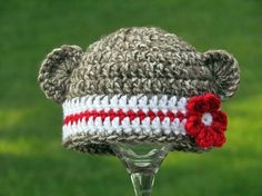Newborn Baby Girl Sock Monkey Beanie #crochet #baby