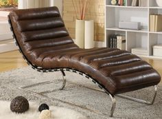 Restoration Hardware Furniture chaise lounge | Leather Chaise Vintage Leather Chrome Accent Legs Restoration Hardware ...