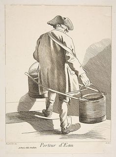 Water Carrier, Paris, 1742, Anne Claude de Tubieres, after Edme Bouchardon, etching with some engraving