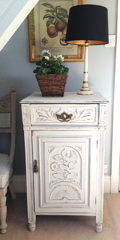 Mahogany Painted Bedside Cabinet - Sold www.sallywhitedesigns.com