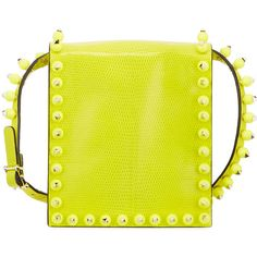 Valentino Studded Lizard-Embossed Mini Bag ($2,619) ❤ liked on Polyvore featuring bags, handbags, shoulder bags, yellow fluo, valentino shoulder bag, leather shoulder handbags, valentino handbags, valentino purses and mini purse