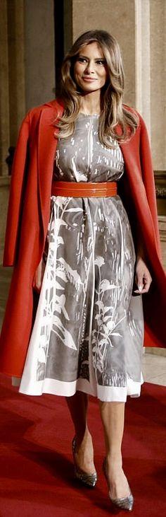 First Lady Melania Trump in Jil Sander dress & Bottega Veneta coat