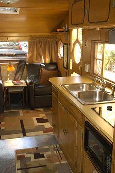 Gypsy Interior Design Dress My wagon| Serafini Amelia| RV Styling| RV Kitchen Space| Airfloat galley