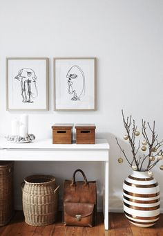 Interior design inspiration: Entry wall art looks organized with a collection of prints, like this simple abstract portrait series.