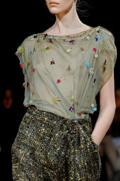 Talbot Runhof - fabric contrast, and the wonderful embroidered sheer