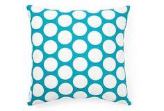 Polka Dot 20x20 Cotton Pillow, Blue on OneKingsLane.com