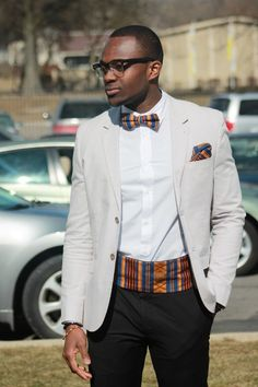 Blazer: H Bowtie,  Kente Print Cummerbund, and Pocket Square: Custom Made    John, 22, OH  nthingbutadream.tumblr.com