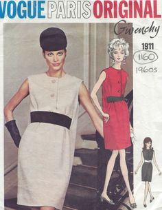 1960s Vintage VOGUE Sewing Pattern DRESS B36 (1160)  By Givenchy