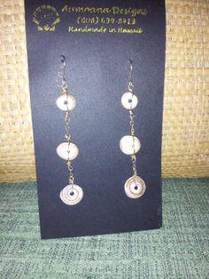 Puka Shell Trio Dangle Earrings by AumoanaDesigns on Etsy, $20.00
