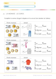French Worksheets, Math Worksheets, Math Activities, Math For Kids, Fun Math, French Education, French Expressions, 2nd Grade Math, French Language