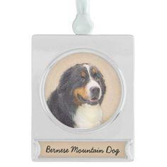 #Bernese Mountain Dog Silver Plated Banner Ornament - #bernese #mountain #dog #puppy #dog #dogs #pet #pets #cute #bernesemountaindog