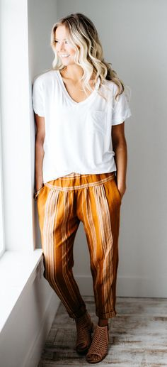 summer outfits  White Tee + Camel Striped Pants