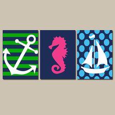 Nautical Wall Art Nursery Bathroom Canvas Navy Blue Yellow Preppy Artwork Ocean Girl Boy Anchor Boat Wheel Pick Colors Set of 3 Prints Three