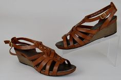 Clarks Bendables Women's Shoes Size 10 M Brown Leather Wedge Slingback Sandals #Clarks #PlatformsWedges #Casual