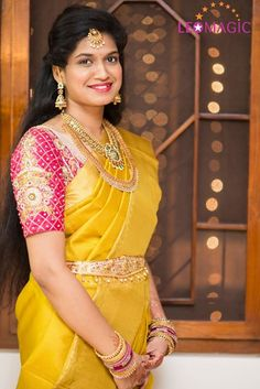 Yellow silk kanchipuram sari